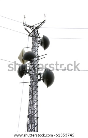 The top of a communications tower with multiple dishes (Isolated) - stock photo