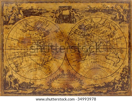 Top Old Box Decorated Vintage Map Stock Photo Royalty Free - Antique map box