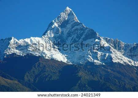 The Top of Machapuchare View from Sarangkot (Pokhara, Nepal) - stock photo