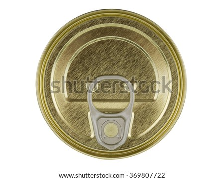 The top of of a tin, isolated on a white background - stock photo