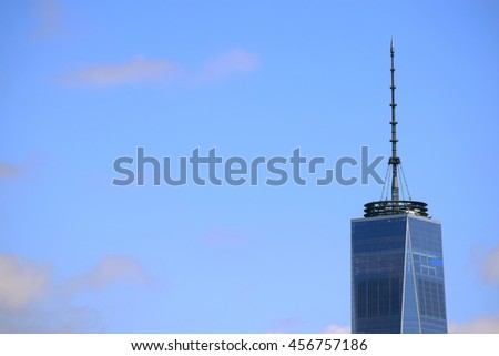 The top of One World Trade Center, also known as the Freedom Tower, in New York City.