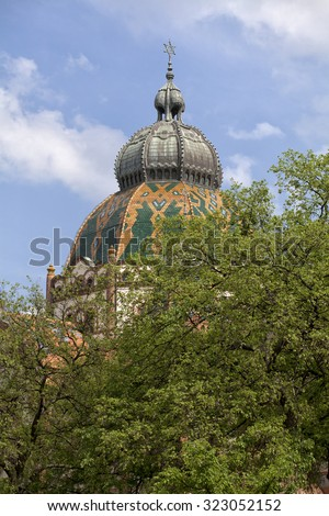 The top of Synagogue in Subotica Szabadka, Serbia - stock photo