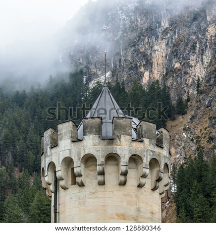 The top of the main tower of the Neuschwanstein castle in the Bavaria Alps - Tirol, Germany
