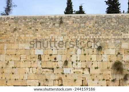 The top of wailing wall of Jerusalem city - stock photo