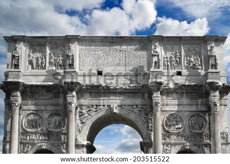 The top part of an Arch of Constantine, Rome, Italy - stock photo