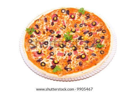 The top view on the Beef Pizza
