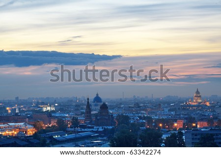 The top view on the night city of St.-Petersburg - stock photo