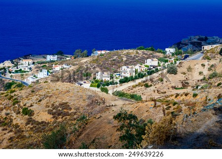 The top view on the sea and the city of Agia Pelagia in Crete, Greece