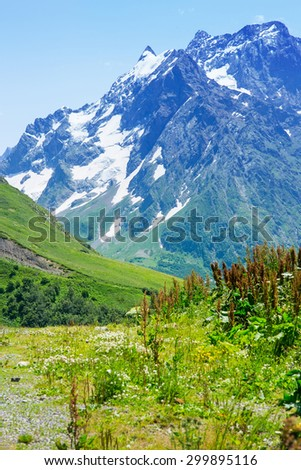 The tops of the mountains. Village Dombay, Karachay Cherkessia Republic, Russia