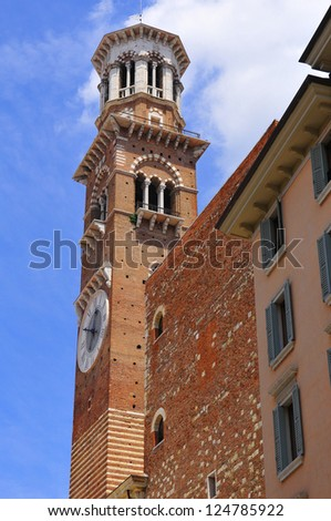The Torre dei Lamberti is 84 m high tower in Verona, northern Italy. - stock photo