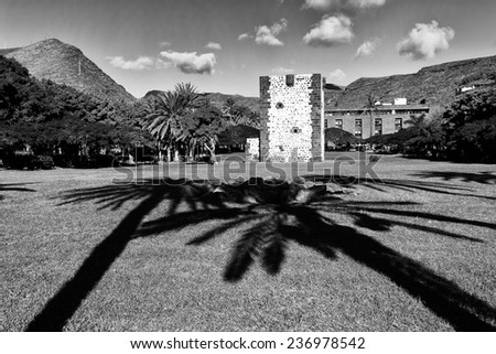 The Torre del Conde, the tower of the earl, is the only medieval fortification at the island of La Gomera  - stock photo