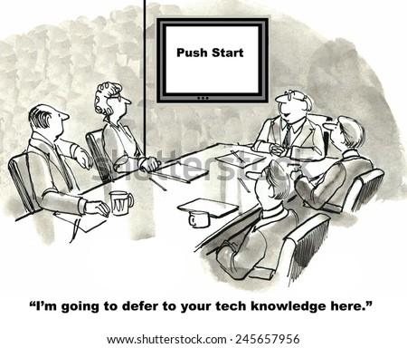 The toughest part of the business meeting is getting the technology to work; push start. - stock photo