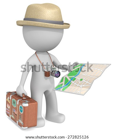 The Tourist. The dude 3D character holding vintage Suitcase, post-retro SLR Camera and City Map. - stock photo