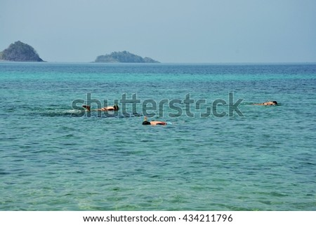 The tourists snorkeling coral in the sea at Koh Lipe in Satun, Thailand. Koh Lipe is the first island which tourists select to travel on vacation.