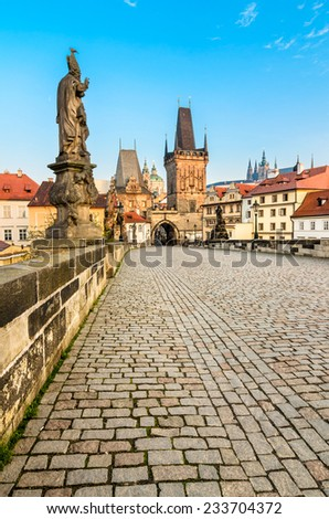 The Tower at the end of the Charles Bridge and Judith Tower, (one of the symbols of Prague). - stock photo
