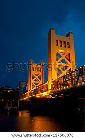 The Tower Bridge in Sacramento, California. - stock photo