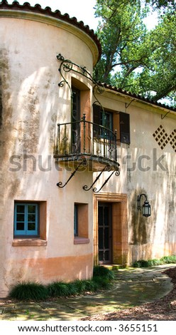 The Tower of an Aging Mediterranean Villa - stock photo