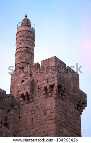 The Tower of David in Jerusalem - it is an ancient citadel located near the Jaffa Gate entrance to the Old City of Jerusalem. - stock photo