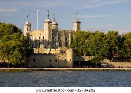 The Tower of London from across the Thames - stock photo