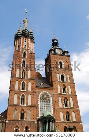 The tower of Mariacki Church in Cracow, Poland - stock photo