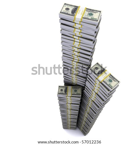 The Tower of reams of dollars aspirations in heaven. The symbol of financial success - stock photo