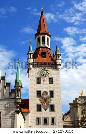 The tower of the old town hall (altes Rathaus) in Munich, Germany