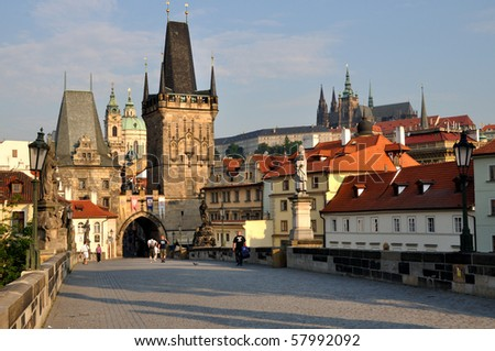 The Tower on the Charles Bridge in Prague - stock photo