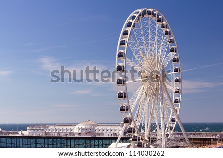 The towering Brighton Wheel on the seafront at Brighton East Sussex England UK - stock photo