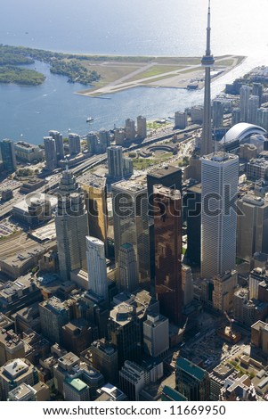 The towers of downtown Toronto, Canada, seen from just above Yonge Street. - stock photo