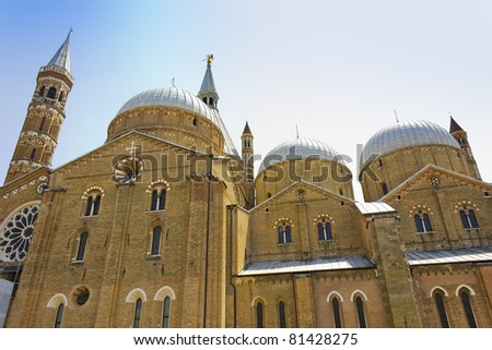 The towers of the Basilica of Saint Anthony of Padua - stock photo