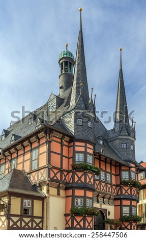 The town hall is one of the most known monuments of architecture in Germany, is a symbol to Wernigerode - stock photo