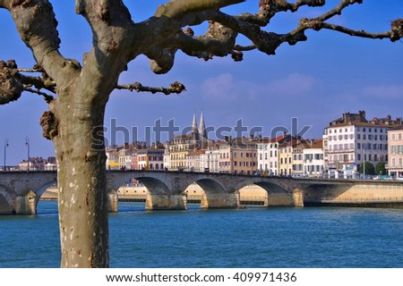 the town Macon in Burgundy, France - stock photo