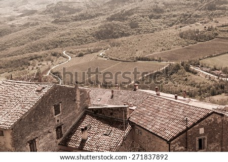 The town Motovun - Istria - Croatia - sepia - stock photo