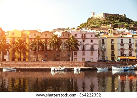 The town of Bosa and the old castle at sunset, Oristano, Sardinia, Italy - stock photo