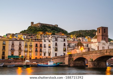 The town of Bosa and the old castle built by the Marquis of Malaspina in 1112  at sunset, Oristano, Sardinia, Italy - stock photo