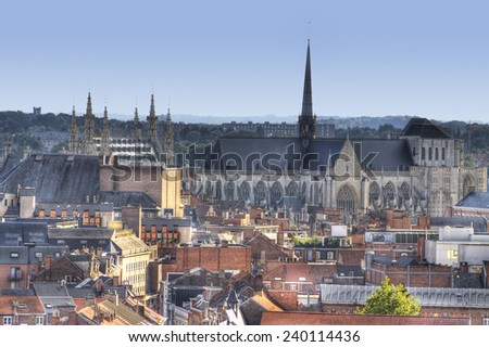 the town of leuven with saint peter's church and city hall - stock photo