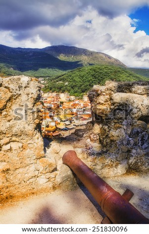The town of Parga as seen from the castle walls - stock photo
