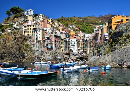 The town of Riomaggiore is a small fisherman city, in Cinque Terre region of Italy - stock photo