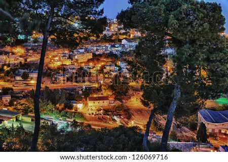 The town of Safed in northern Israel in the late evening - stock photo