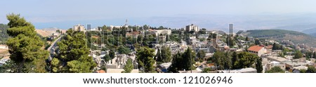 The town of Safed in northern Israel in the morning. - stock photo