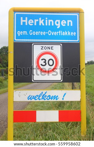The town sign of the city of Herkingen, Netherlands