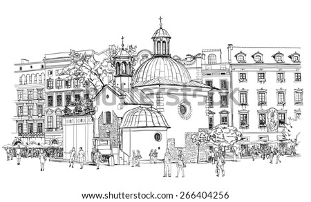 The town square in Krakow. Poland. Black & white sketch - stock photo