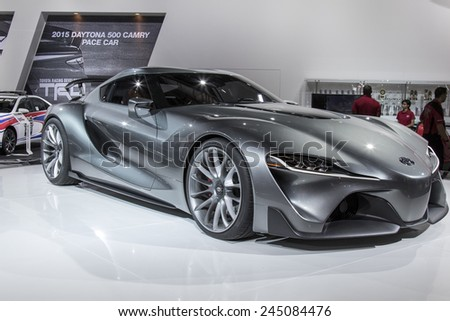 The Toyota FT-1 concept at The North American International Auto Show January 12, 2015 in Detroit, Michigan. - stock photo