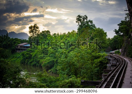 The tracks in the forest along the cliffs. - stock photo