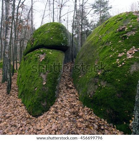 The tract stone village, Zhytomyr region village of Rudnya- Zamyslovichskaya - stock photo