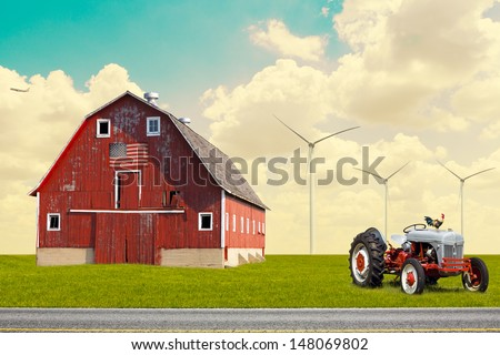 The traditional American red barn in rural setting - stock photo
