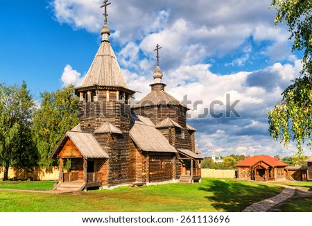 The traditional russian wooden church for tourists in the ancient town of Suzdal, Russia. Golden Ring of Russia. - stock photo