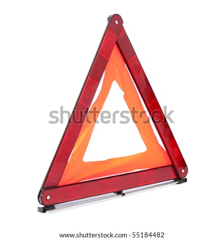 The traffic sign cautiously, on a white background, is isolated.