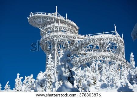 The trail in the sky in Dolni Morava, Czech Republic - stock photo