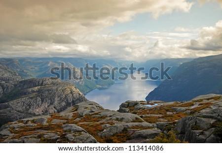 The trail to Preikestolen. Norway - stock photo